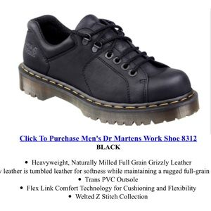 DR MARTENS BLACK LEATHER LEATHER WORK BOOT 8312 12
